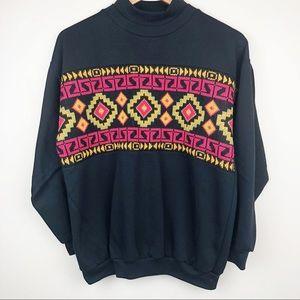 {Vintage} Black sweatshirt colorful design